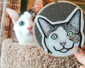 Custom Cat Portrait - Custom Pet Portrait -  Custom Portraits - Hoop Art - Embroidery - Cat Portrait - Pet Gift - Pet Lover Gift