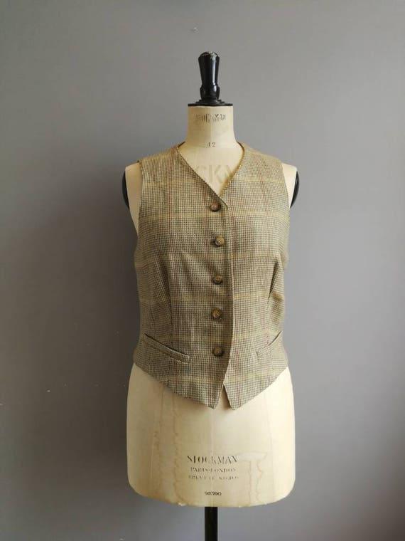 Women's tweed waistcoat by Maxmara / light olive grey wool waistcoat / English country / wool tweed waistcoat / chic / UK 12
