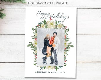 Floral Christmas Photo Card, Happy Holidays Photo Card Template, Family Christmas Card Instant Download, Happy Holiday Card Printable, mc191