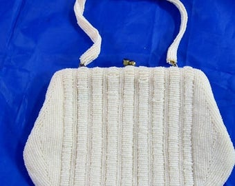 ON SALE Walborg Purse White Glass Micro Beads Evening Bag Richere