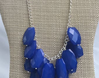 Blue Statement Necklace, Blue Bib Necklace, Layered Necklace, Multi-Layered Statement Jewelry, Bridesmaid Necklace, Bridal Jewelry