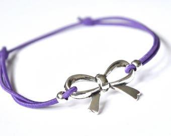 Bow bracelet purple cord