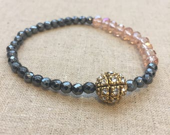 Beaded Bracelets Stacking Bracelets Stretch Bracelets 4mm Hematite Faceted with Gold Spacers-Handmade Jewelry
