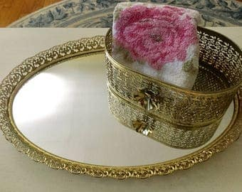 Vintage mid century gold filigree mirrored tray and basket with gold rose detail
