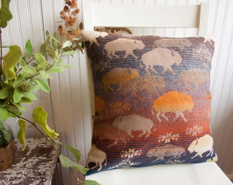 Buffalo Pillow Cover, western Accent Pillow in Pendleton Wool, Mercy Grey, southwest pillow cover, native pillow cover, Pendleton Wool