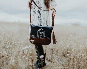 Western Crossbody Bag, Leather Bottom Purse, Wool Coss Body Purse, Southwest Bag, Black Purse, Leather Purse in Pendleton Wool, bohemian bag