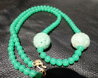 Art Deco Necklace, Carved Jade Beads, Peking Glass Beads, Circa 1920s