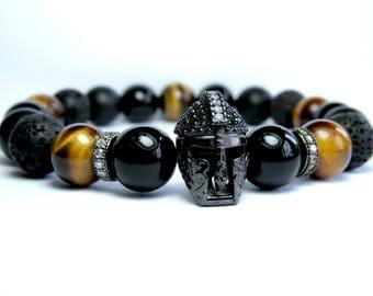 Mens Helmet Bracelet, Spartan Bracelet, Mens Beaded Bracelet, Gladiator Bracelet, Mens Gemstone Bracelet, Tiger Eye Bracelet, Onyx Bracelet