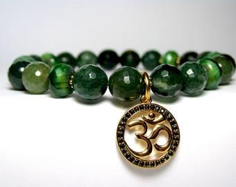Moss Agate Om Bracelet, Yoga Bracelet, Womens Beaded Bracelet, Yoga Jewelry Gift, Gemstone Stretch Bracelet, Green Bracelet, Gift for Her