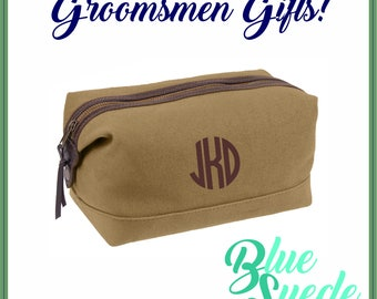 Canvas with Leather Accent Toiletry Bags - Groomsmen Gift   Groomsmen Bag   Military Style   Dopp Bag   Men's Toiletry Bag