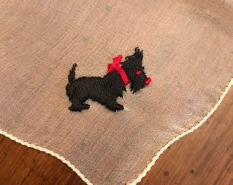 Vintage ladies handkerchief with an embroidered Scotty Dog