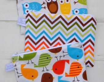 Eco Friendly Reusable Snack Bag - Choose Your Size and Print - Bermuda Owl, Bermuda Chevron, Bermuda Bird