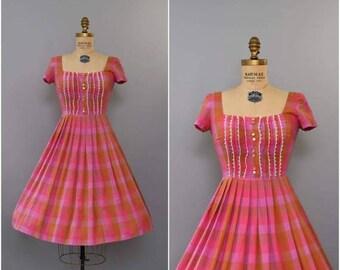 SUMMER SALE 1950's orange pink plaid shirtdress • small