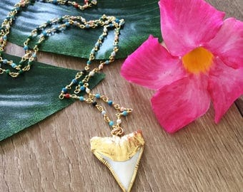 New! Gold Dipped Beaded Sharks Tooth