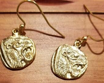Vermeil lion earrings, Leo earrings, big cat earrings