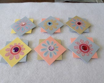 Set of 6 floral themed cardstock embellishments, handmade, for card making, scrapbooking, paper crafting