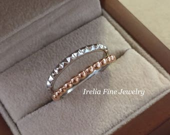 14K White & Rose Gold Beaded And Pyramid Ring Geometric Design Stackable --Ready to Ship--