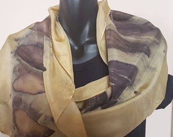Eco printed silk 8mm habotai scarf