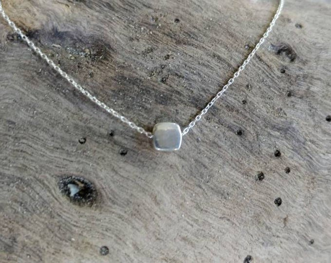 Teenie Tiny Silver necklace, Tiny Square, Sterling Silver, tiny necklace, Square, necklace, Dainty, Tiny Silver Necklace, Everday, Cube
