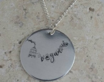 """Vegan handstamped necklace - vegan necklace - jewelry - until every cage is empty - animal rights jewellery - 3cm pendant on 18"""" chain"""