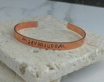 Adventure mountain climbing bracelet - hiking  - travel - walking jewellery - adjustable - handstamped - unisex