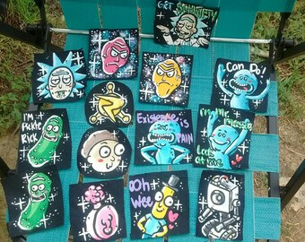 Rick and Morty Patches. Mr Meeseeks Butter Robot Plumbus Mr Poopy butthole Pickle Rick Rick Morty Council of Rick's Show Me What You Got