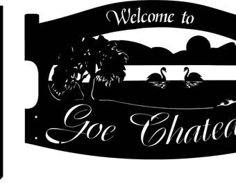 Custom metal sign with SWAN and LAKE and Your Name and bolt on stakes