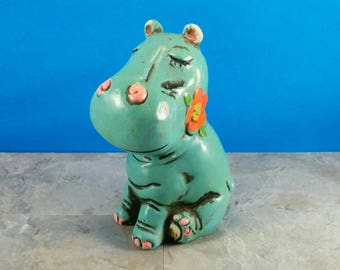 Vintage Teal Painted Plaster Hippopotamus Kids Bank with Flowers - Chippy Kitsch Bank