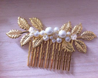 READY TO SHIP - Wedding hair accessory -  hair comb - crystal beads and pearls  - golden leaves
