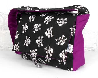 Skull and Crossbones with Purple Toddler Messenger Bag