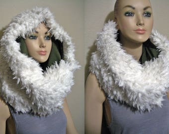 Amazing Ivory Faux Fur Scarf Neck Warmer Winter Cowl Soft Warm Ivory Llama Fur reverse to Olive Green Jersey Knit - NOT an infinity scarf