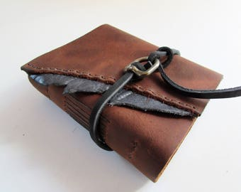 """The """"Noveler Series"""" - Handmade Leather Journal, Leather Bound Book, Writer's Journal with Parchment Paper  5"""" x 6"""""""