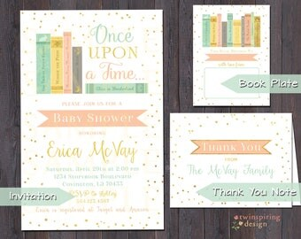 Once Upon a Time Story Book Baby Shower DIGITAL Invitation, Thank You Note and/or Book Plate