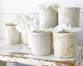 Antique stoneware ribbed jam pots