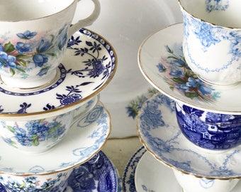 A beautiful vintage mismatched blue and white  21 piece tea set