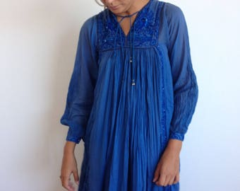 Vintage Indian dress - blue sheer cotton gauze with sequin peacock, embroidery xs/sm