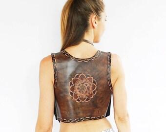 Leather vest, Leather woman vest. Mandalas. Black leather vest.