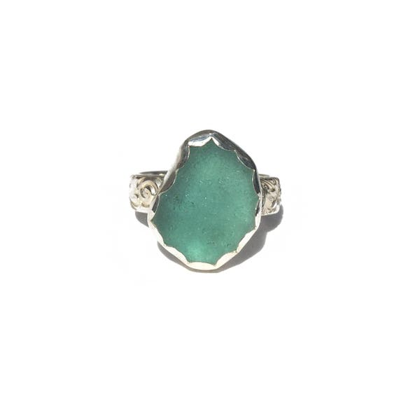 light teal sea glass ring, size 8