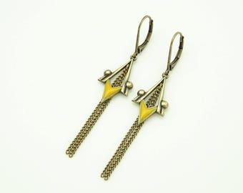 Earrings with spike mustard enamel charms