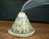 Mountains Incense Burner Holder, Smoky Mountains, Ozark, Handmade Ceramic, Unique Bohemian Gift, Meditation Altar