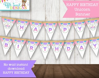 Unicorn Party Birthday Party HAPPY BIRTHDAY Banner - Instant Download Printable-