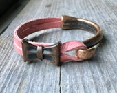 Copper Half Cuff Bracelet With Pink Leather And Copper Bow Charm - Hook Bracelet