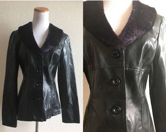 vintage 90's BLACK PVC JACKET with purple faux fur collar - small