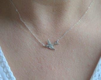 tiny swallow necklace, sterling silver bird necklace, minimal necklace, everyday necklace, silver swallow necklace, dainty necklace