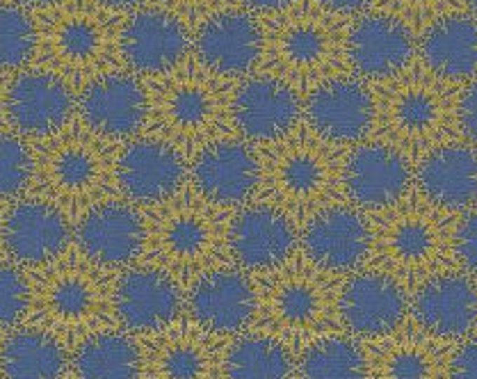 Gold Flakes in Blue(metallic)- Noel by Cotton and Steel- Holiday Fabric