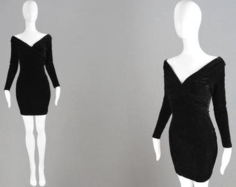 Vintage 90s Black Velour Dress Stretch Velvet Dress Velvet Bodycon Dress Little Black Dress LBD Dress Cocktail Party Gothic Sexy 1990s Dress