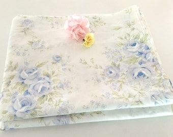 Vintage Shabby Chic Twin Flat Sheet, Country Flowers Bedding, White, Blue Flowers, 65 x 86