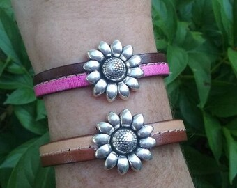 Sunflower & Leather Stitched Two Toned Bracelet Cuff