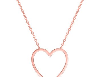 Heart Necklace Rose Gold plated 18k  handmade pendant on 925 silver Bridesmaids Anniversary Gift