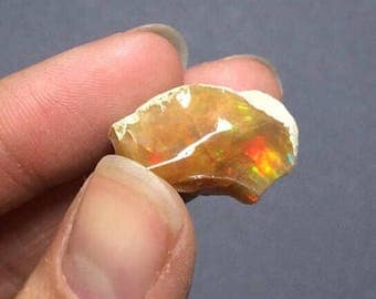 Ethiopian Opal Fire Butterscotch Rainbow Fire Raw in Matrix Large Natural Specimen Ethiopia